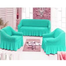 Чехол на 3-х местный диван и 2 кресла бирюзовый