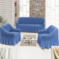 Чехол на диван и 2 кресла синий S-21