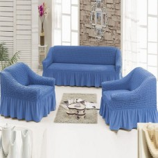Евро чехол на диван и 2 кресла голубой S-21