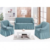 Чехол диван и 2 кресла натяжные серо голубой S-36