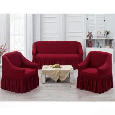 Чехлы на диван и 2 кресла бордовый J-01