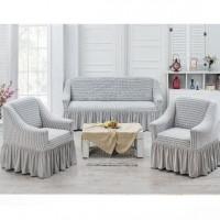 Чехлы на диван и 2 кресла соты слоновая кость J-02