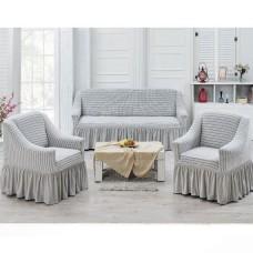 Чехлы на диван и 2 кресла слоновая кость J-02