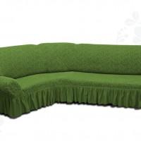 Чехол на угловой диван с оборкой жаккардовый зеленый