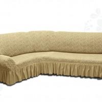 Чехол на угловой диван с оборкой жаккардовый медовый