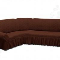 Чехол на угловой диван с оборкой жаккардовый коричневый