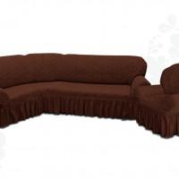Чехол на угловой диван и одно кресло с оборкой жаккардовый коричневый