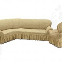 Чехол на угловой диван и одно кресло с оборкой жаккардовый медовый