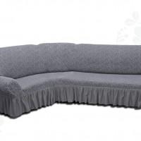 Чехол на угловой диван с оборкой жаккардовый темно серый