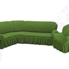 Чехол на угловой диван и одно кресло с оборкой жаккардовый зеленый