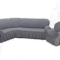 Чехол на угловой диван и одно кресло с оборкой жаккардовый темно серый