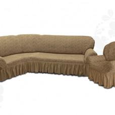 Чехол на угловой диван и одно кресло с оборкой жаккардовый кофейный