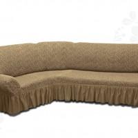 Чехол на угловой диван с оборкой жаккардовый кофейный