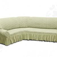 Чехол на угловой диван с оборкой жаккардовый кремовый