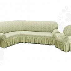 Чехол на угловой диван и одно кресло с оборкой жаккардовый кремовый