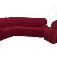 Чехол на угловой диван и одно кресло с оборкой жаккардовый бордовый