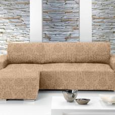 БОГЕМИЯ - БЕЖ. Европейский чехол угловой диван с выступом слева