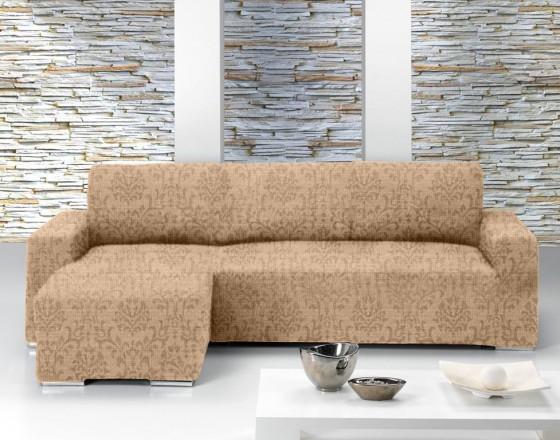 Чехол на угловой диван с выступом слева Европейский БОГЕМИЯ - БЕЖ