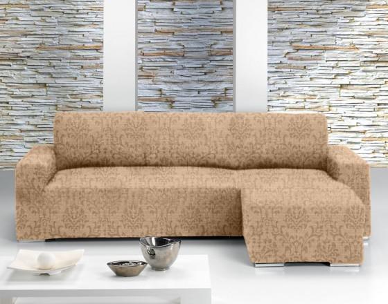 Чехол на угловой диван с выступом справа Европейский БОГЕМИЯ - БЕЖ