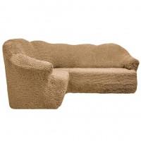Чехол на угловой диван без оборки бежевый FT-5051