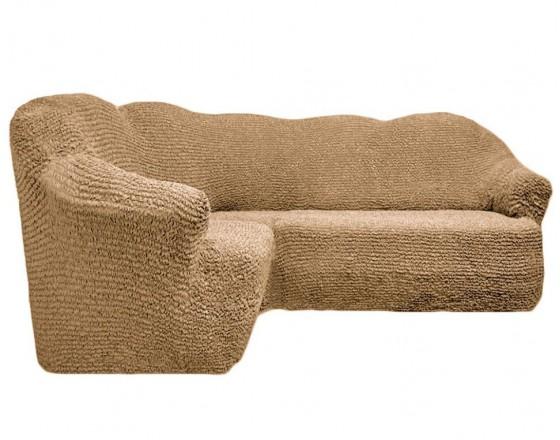 Чехол на угловой диван без юбки бежевый FT-5051