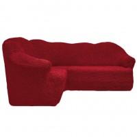 Чехол на угловой диван без оборки бордовый FT-5052