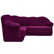 Чехол на угловой диван без оборки фиолетовый FT-5066