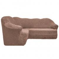 Чехол на угловой диван без оборки какао FT-5055