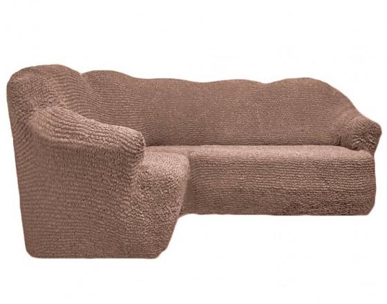 Чехол на угловой диван без юбки какао FT-5055