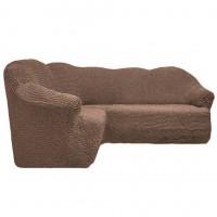 Чехол на угловой диван без оборки кофейный FT-5056