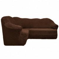 Чехол на угловой диван без оборки коричневый FT-5062