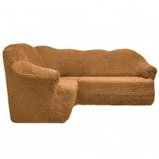 Чехол на угловой диван без оборки корица FT-5058