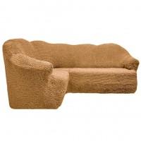 Чехол на угловой диван без оборки медовый FT-5063