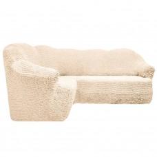 Чехол на угловой диван без оборки молочный FT-5057
