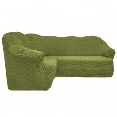 Чехол на угловой диван без оборки оливковый FT-5065