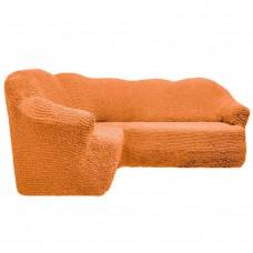 Чехол на угловой диван без оборки персиковый FT-5059