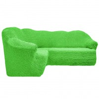 Чехол на угловой диван без оборки салатовый FT-5067
