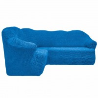 Чехол на угловой диван без оборки синий FT-5061