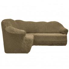 Чехол на угловой диван без оборки темно оливковый FT-5064
