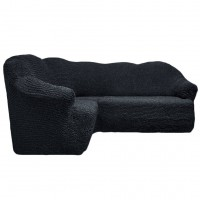 Чехол на угловой диван без оборки темно серый FT-5060