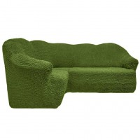 Чехол на угловой диван без оборки зеленый FT-5054