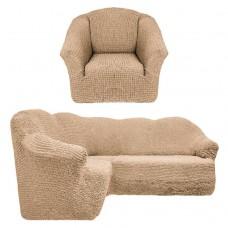 Чехол на угловой диван и кресло без оборки бежевый T-005