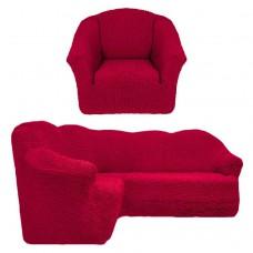 Чехол на угловой диван и кресло без оборки бордовый T-006