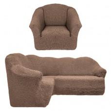 Чехол на угловой диван и кресло без оборки кофе T-004