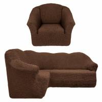 Чехол на угловой диван и кресло без оборки коричневый T-001