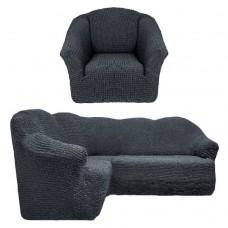 Чехол на угловой диван и кресло без оборки темно-серый T-008