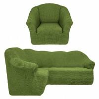 Чехол на угловой диван и кресло без оборки зеленый T-007