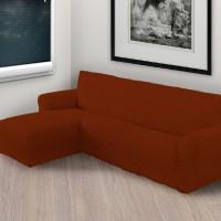 Чехол на угловой диван с левым выступом бордовый L-005