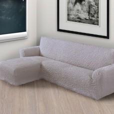 Чехол на угловой диван с левым выступом дымчатый L-009