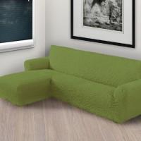 Чехол на угловой диван с левым выступом фисташковый L-007